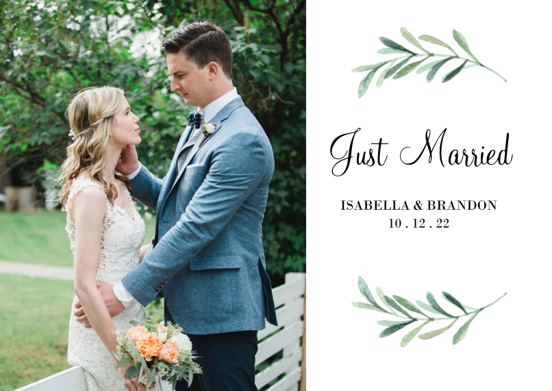 Just Married 5x7 Cards, Premium Cardstock 120lb with Elegant Corners, Card & Stationery -Wedding Just Married Foliage Wreath by Tumbalina