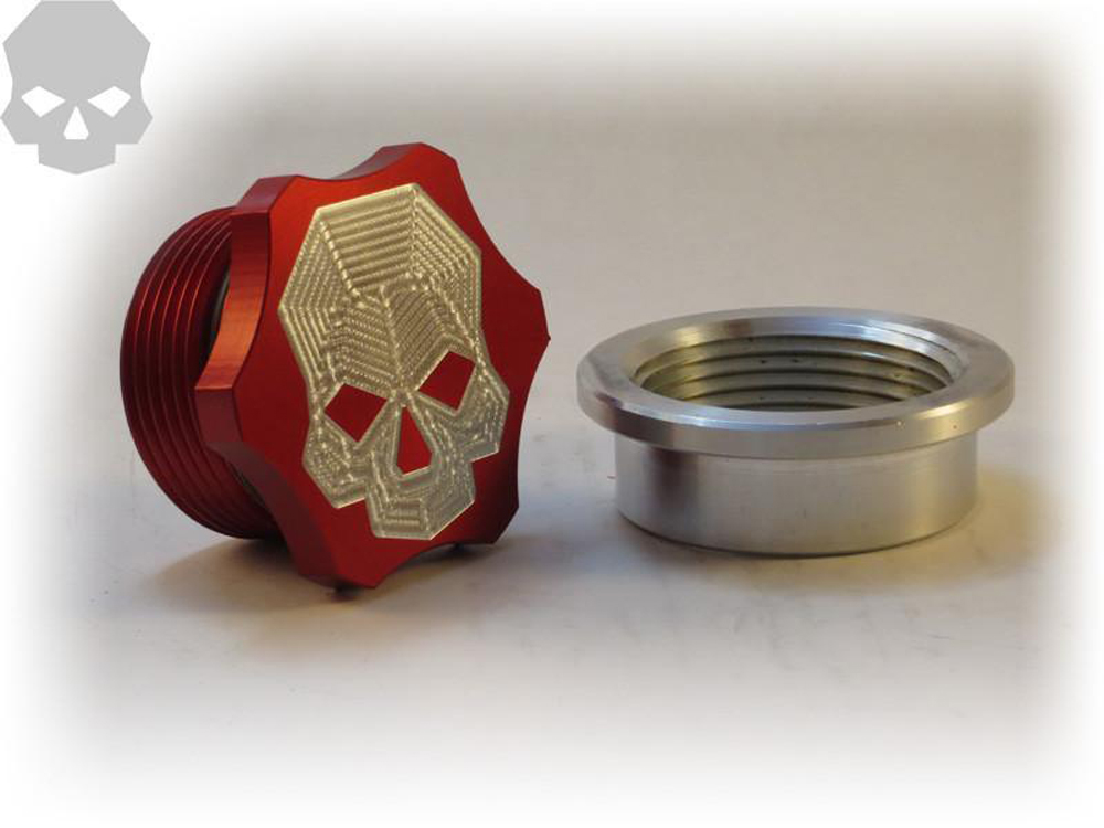 Extra Large Weld-In Inspection Plug/Fill Cap Aluminum Red Ballistic Fabrication MISC-751-2