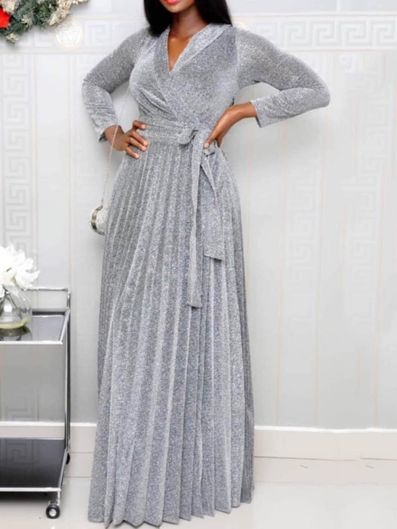 Ericdress Lace-Up V-Neck Floor-Length Fall Pleated Dress
