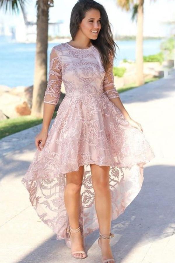 Chic Hi-Lo Jewel 3/4 mangas vestido de fiesta | Exquisito encaje rebordear vestido de fiesta rosa