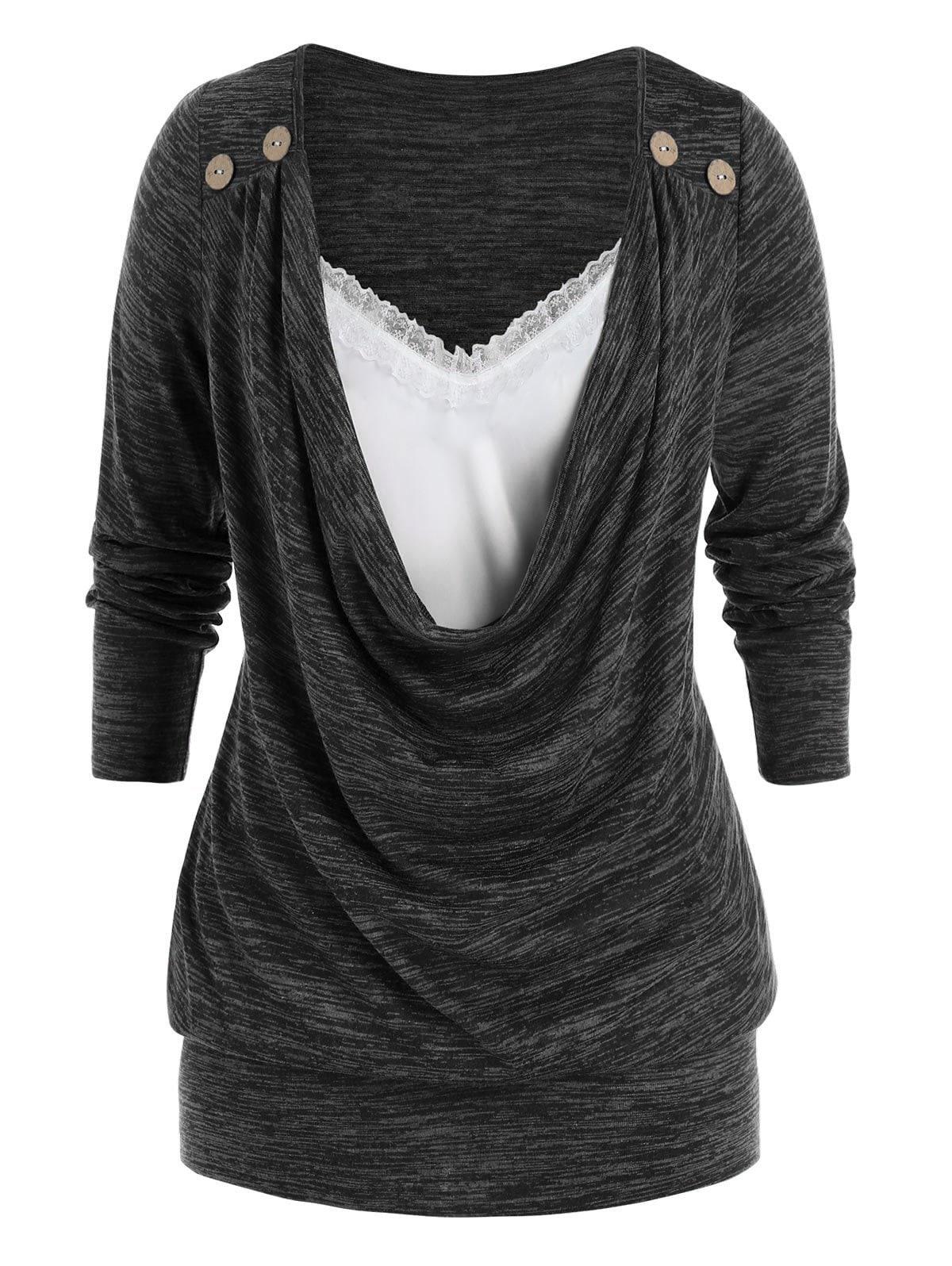 Plus Size Draped Cowl Front Lace Panel Blouson Tunic Tee