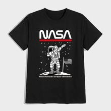 Men Astronaut And Letter Graphic Tee