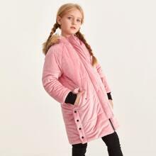 Samt Mantel mit Taschen Klappen, Kontrast Kunstpelz und Kapuze