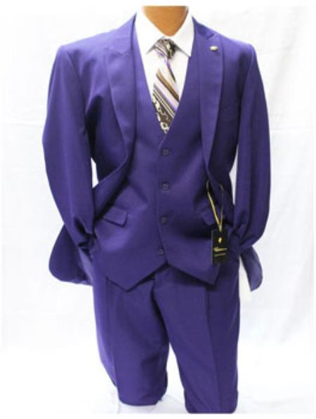 Mens Falcone Vett Purple Classic Fit Solid Vested Suit
