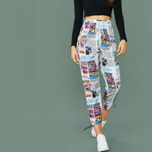 Tie Waist Drawstring Cuff Newspaper & Pop Art Print Pants