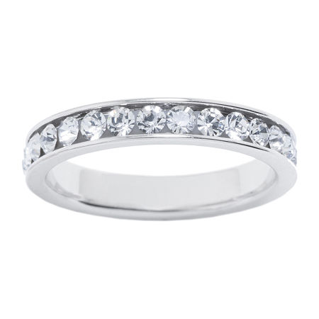 Sparkle Allure Crystal Pure Silver Over Brass Stackable Ring, 5 , No Color Family