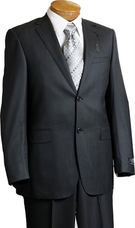 2 Button Charcoal Pinstripe Italian Designer Suit Mens