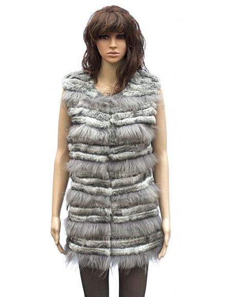 Fur Grey Genuine Rabbit 43163 Vest