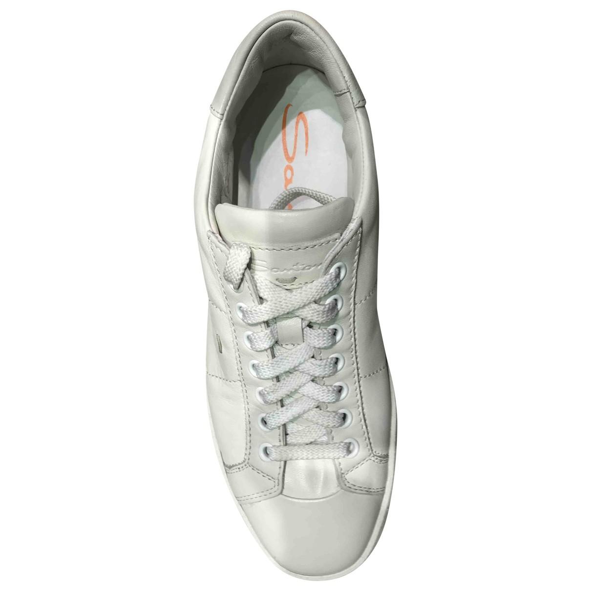 Santoni - Baskets   pour homme en cuir - blanc