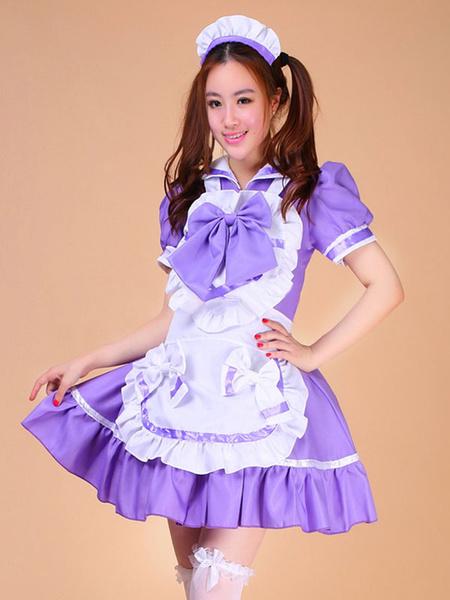 Milanoo Color Block Ruffles Bows Trendy Cotton Maid Costume for Women Halloween