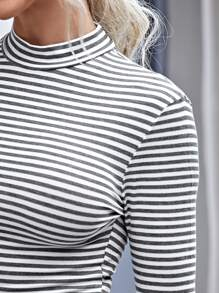 Mock-neck Striped Fitted Tee