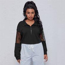 Plus Contrast Fishnet Mesh Half Zipper Sweatshirt