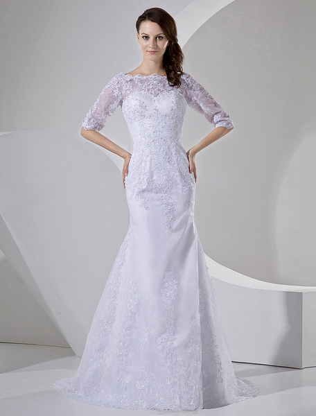 Milanoo Vestido de boda blanco de organdi y de saten con mangas de estilo de sirena