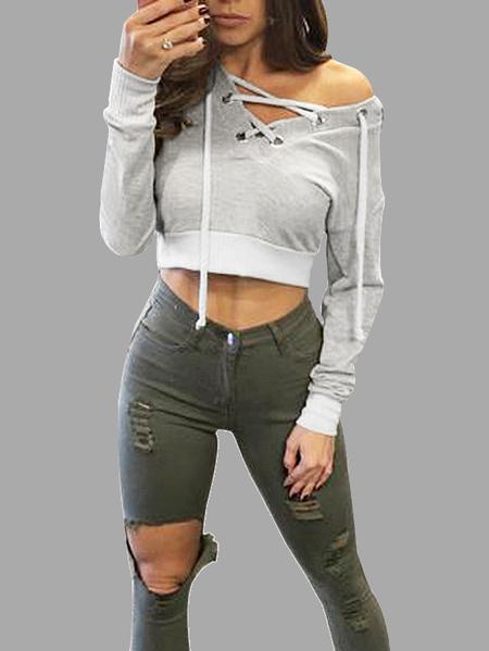 Yoins Grey Casual Hooded Lace-up Long Sleeves Crop Hoodie