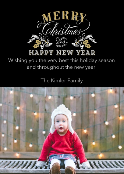 Christmas Photo Cards 5x7 Cards, Premium Cardstock 120lb with Scalloped Corners, Card & Stationery -Elegant Holiday