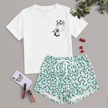 Schlafanzug Set mit Karikatur Panda Muster