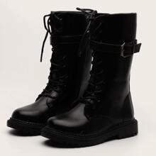 Girls Buckle Decor Boots