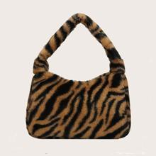 Zebra Print Fluffy Shoulder Bag
