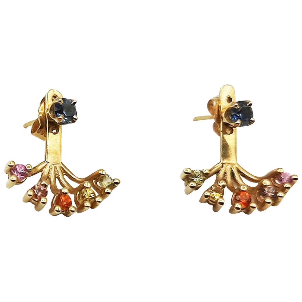 - Boucles d'oreilles   pour femme en or jaune - multicolore
