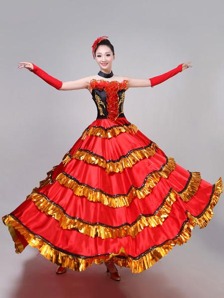 Milanoo Flamenco Girls Red Yellow Layered Billowing Dancing Skirt Adults Spanish Dancer Ballroom Dress Off Shoulder Paso Doble Costumes Halloween