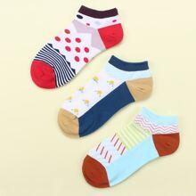 3 Paare Geometric & Punkten Muster Knochel Socken