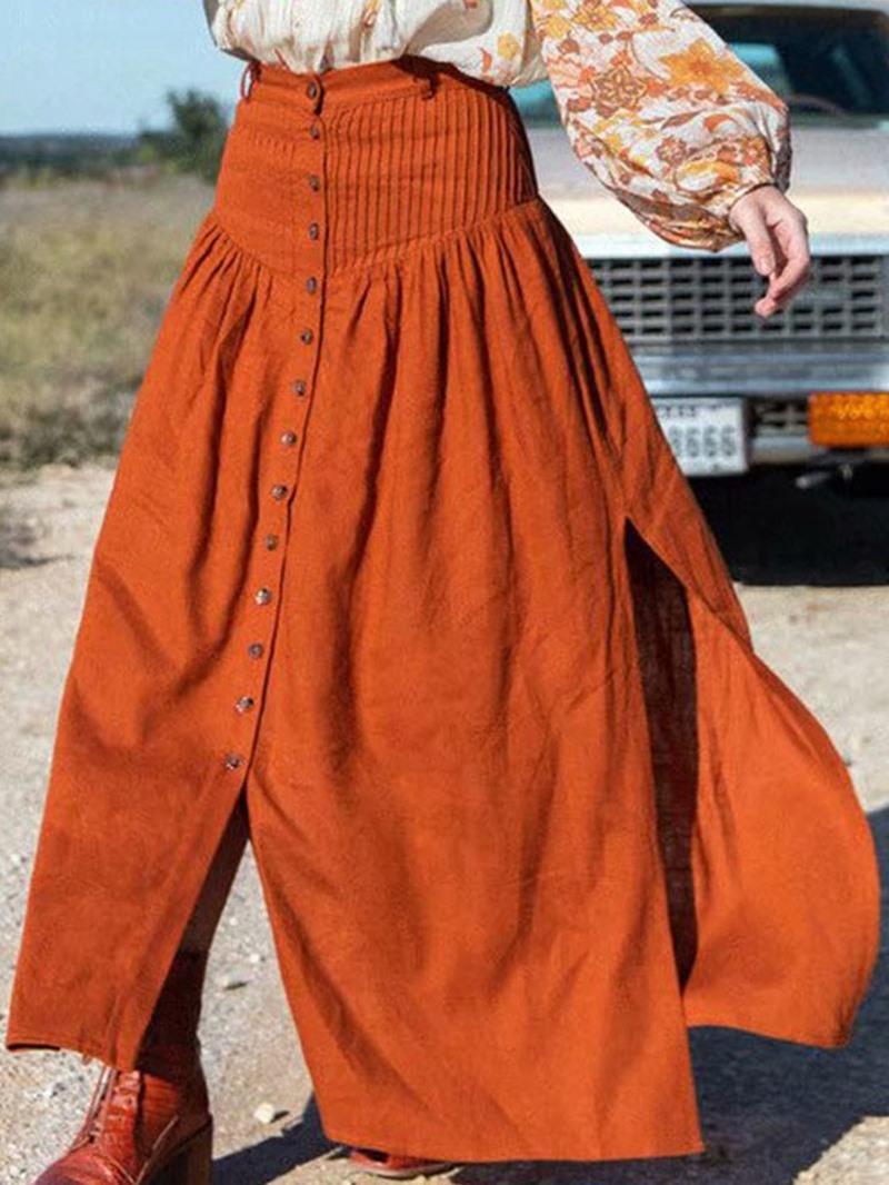 Ericdress Plain A-Line Button Fashion Skirt