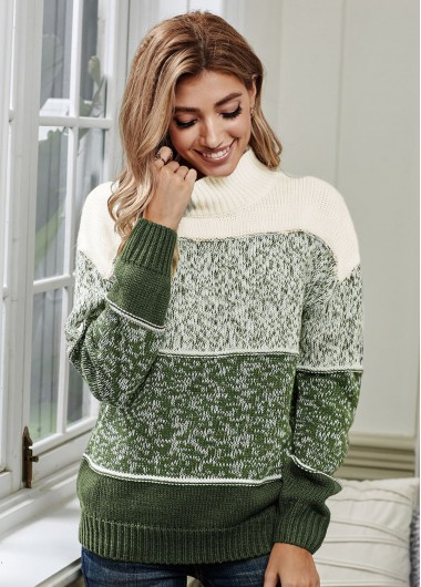 Trendy Long Sleeve Turtleneck Green Contrast Sweater - M