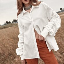 Ruched Sleeve Button Up Blouse