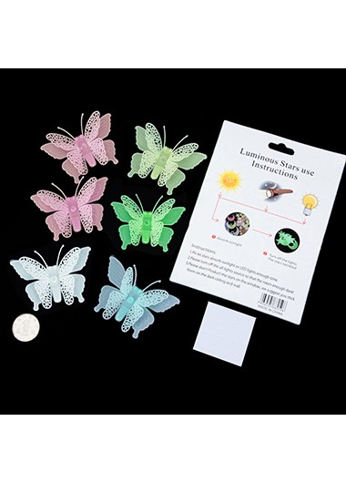 Luminous Butterfly 6 Pieces Stickers - One Size
