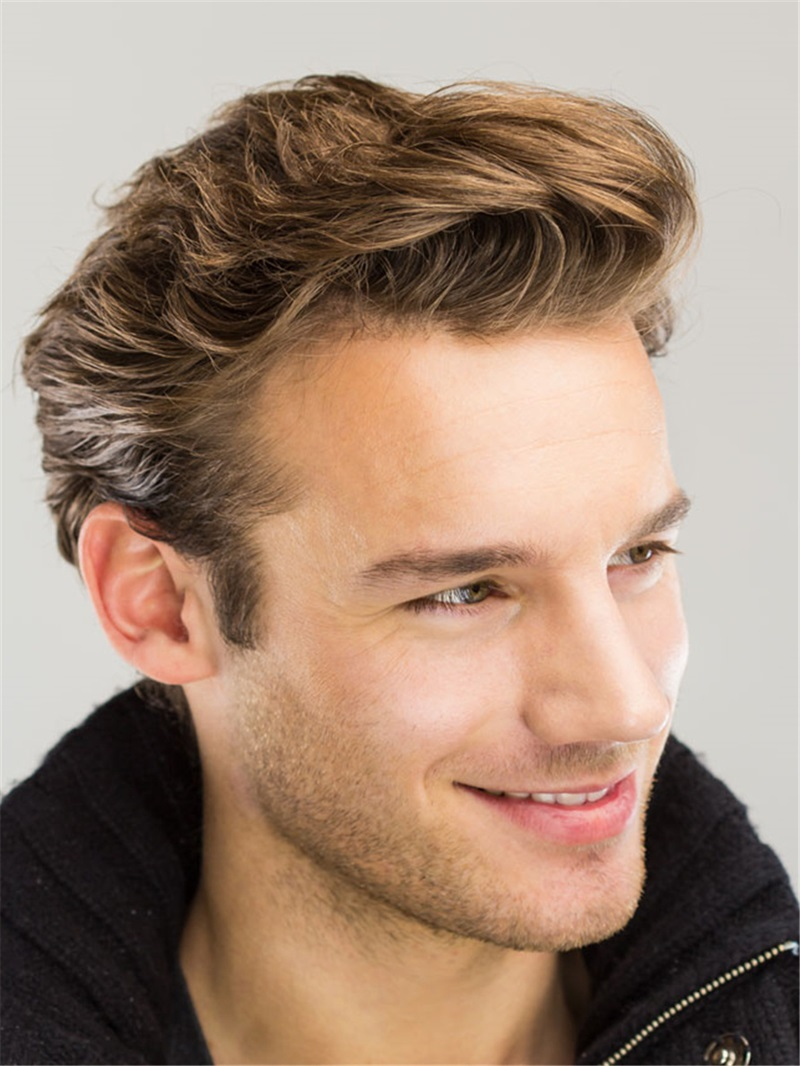 Ericdress Wavy Brush Up Hairstyle Human Hair Full Lace Mens Wig