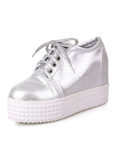 Milanoo Womens Silver Sneakers Round Toe Lace Up PU Platform Casual Shoes
