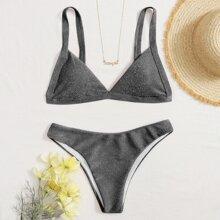 Glitter Triangle Bikini Swimsuit