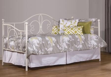 1687DBLH Ruby Twin Size Daybed with Suspension Deck  Wood and Tubular Steel Construction in Textured White