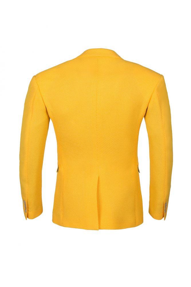 Groomsmen Back Vent High Quality Slim Fit Peak Lapel Yellow