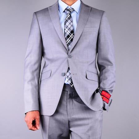 Mantoni Mens Slim Fit Textured Grey 2Button Wool Suit