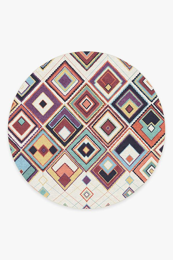 Washable Rug Cover & Pad | Esra Polychrome Rug | Stain-Resistant | Ruggable | 8' Round