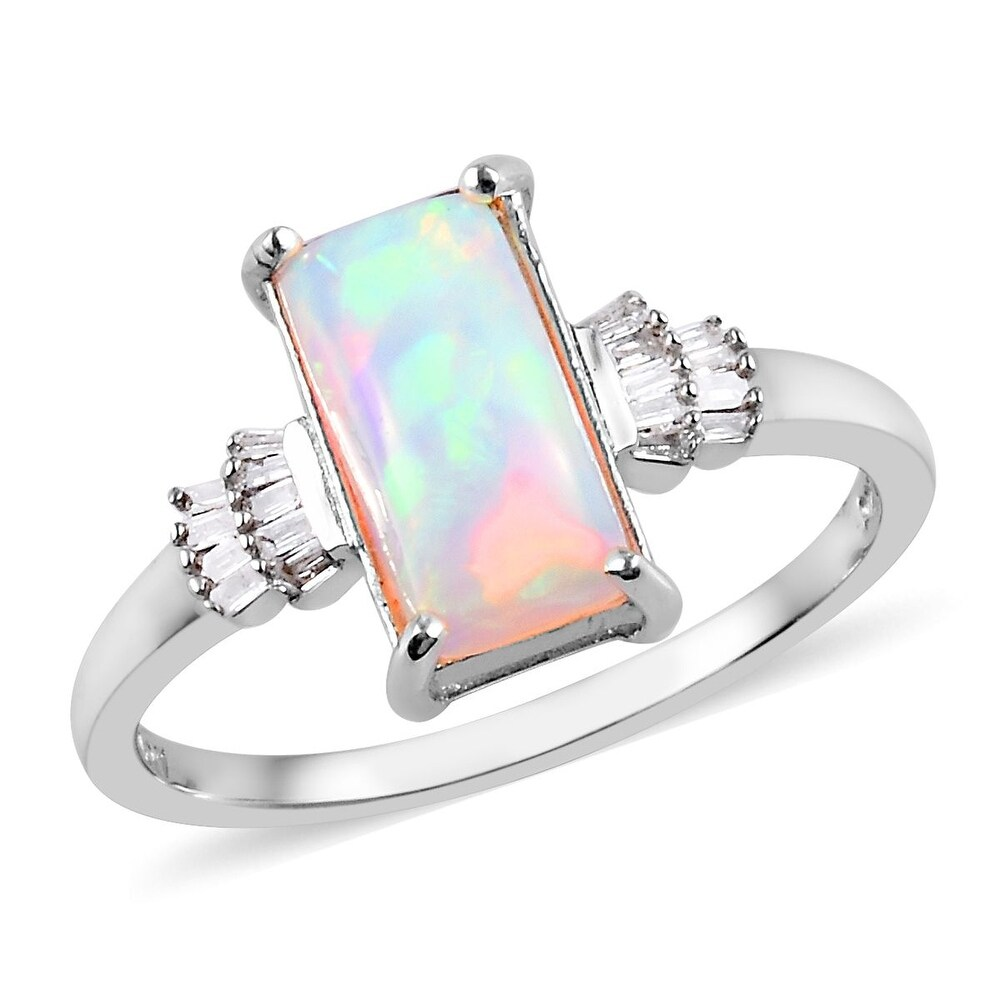 Platinum Over Sterling Silver Opal White Diamond Ring Ct 1.95 (Ring 11)