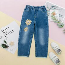 Jeans mit Blumen Muster und ungesaeumtem Saum