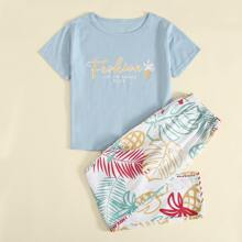 Schlafanzug Set mit tropischem und Buchstaben Grafik