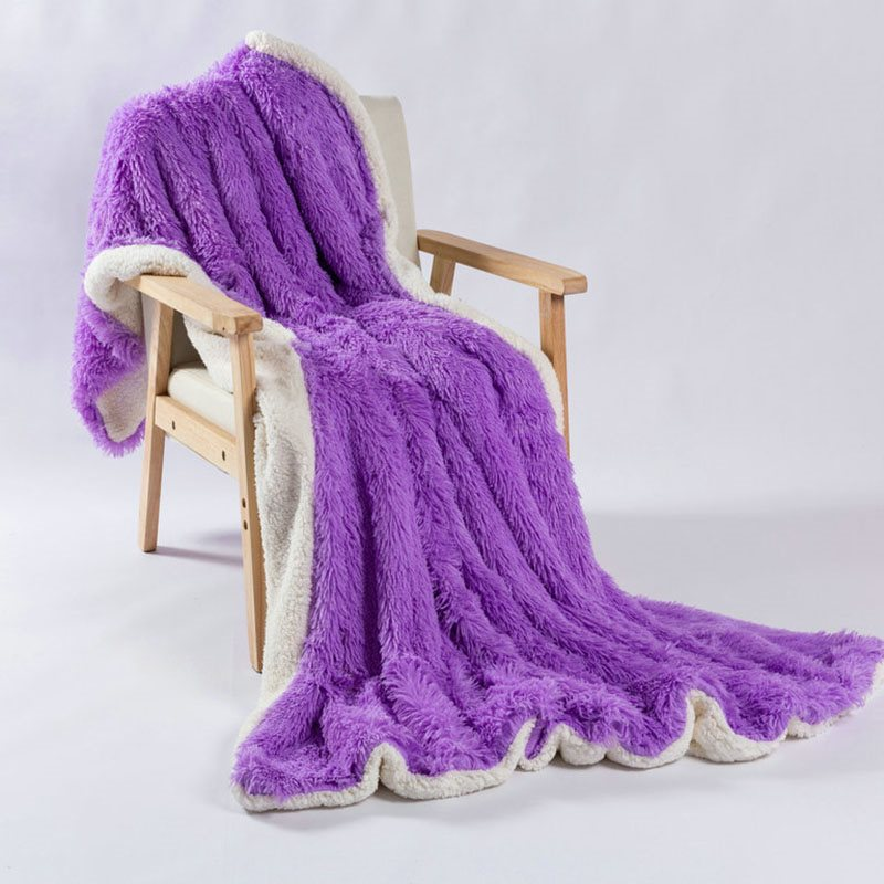 Solid Colour Soft and Fluffy Double Layer Throw Blanket Berber Fleece Blanket