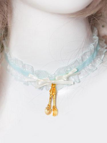 Milanoo Sweet Lolita Choker Pink Lace Pearl Necklace