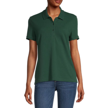 Arizona Juniors Womens Short Sleeve Knit Polo Shirt, Medium , Green