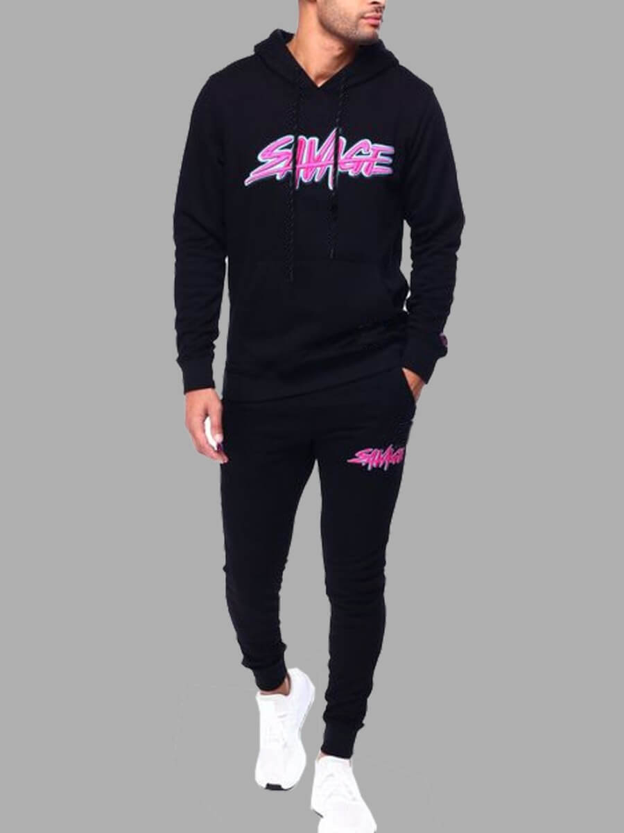 LW Lovely Casual Hooded Collar Letter Print Men Two-piece Pants Set