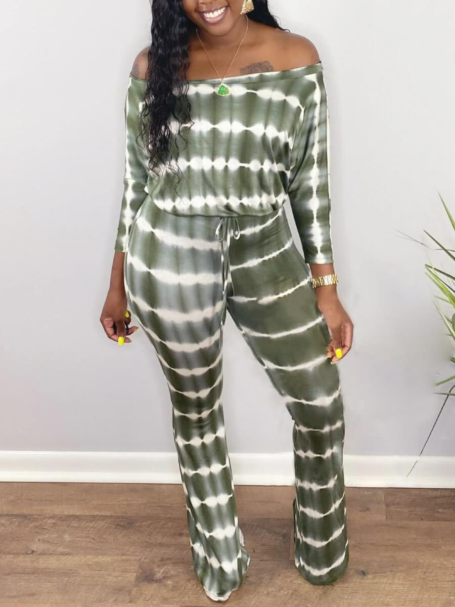 LW Lovely Casual Off The Shoulder Tie Dye Green One-piece Jumpsuit