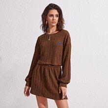 Drop Shoulder Cable Knit Top & Skirt Set