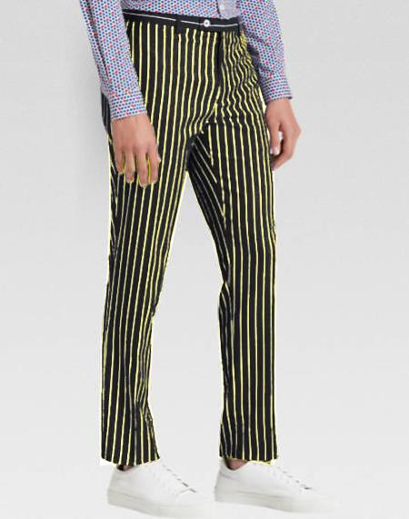 Mens Slacks Black Ganagster Chalk Striped