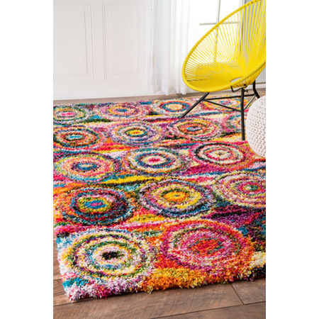 nuLoom Kindra Circles Shaggy Rug, One Size , Multiple Colors