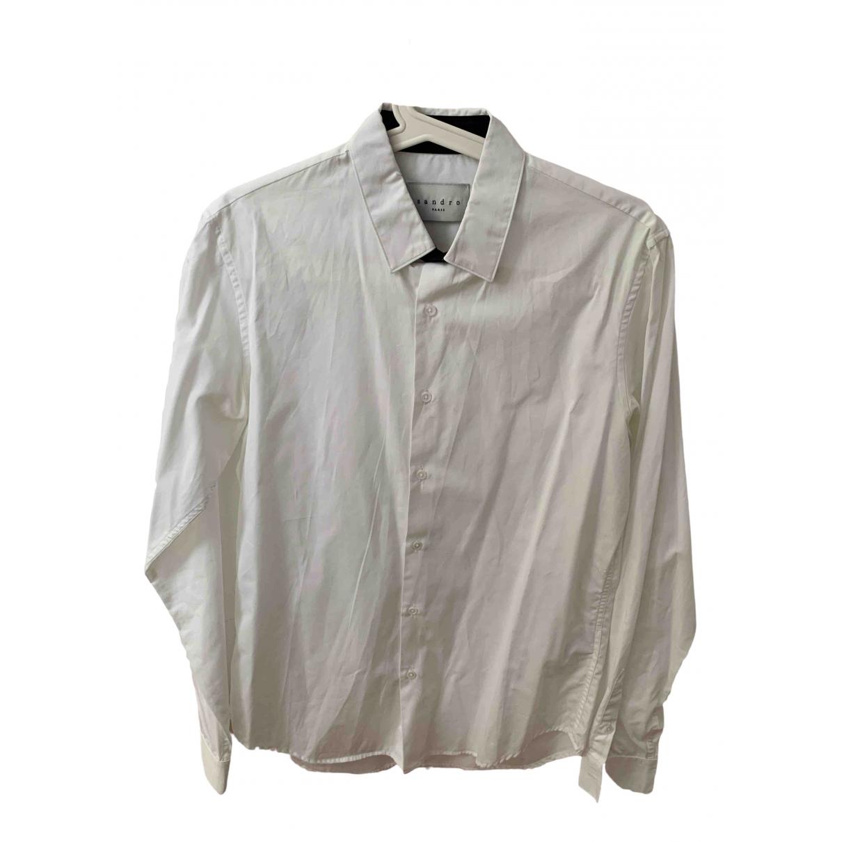 Sandro \N White Cotton Shirts for Men 38 EU (tour de cou / collar)