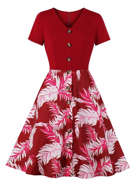 Milanoo Vintage Dress Womens Buttons Floral Print Short Sleeve 1950s Swing Retro Dresses