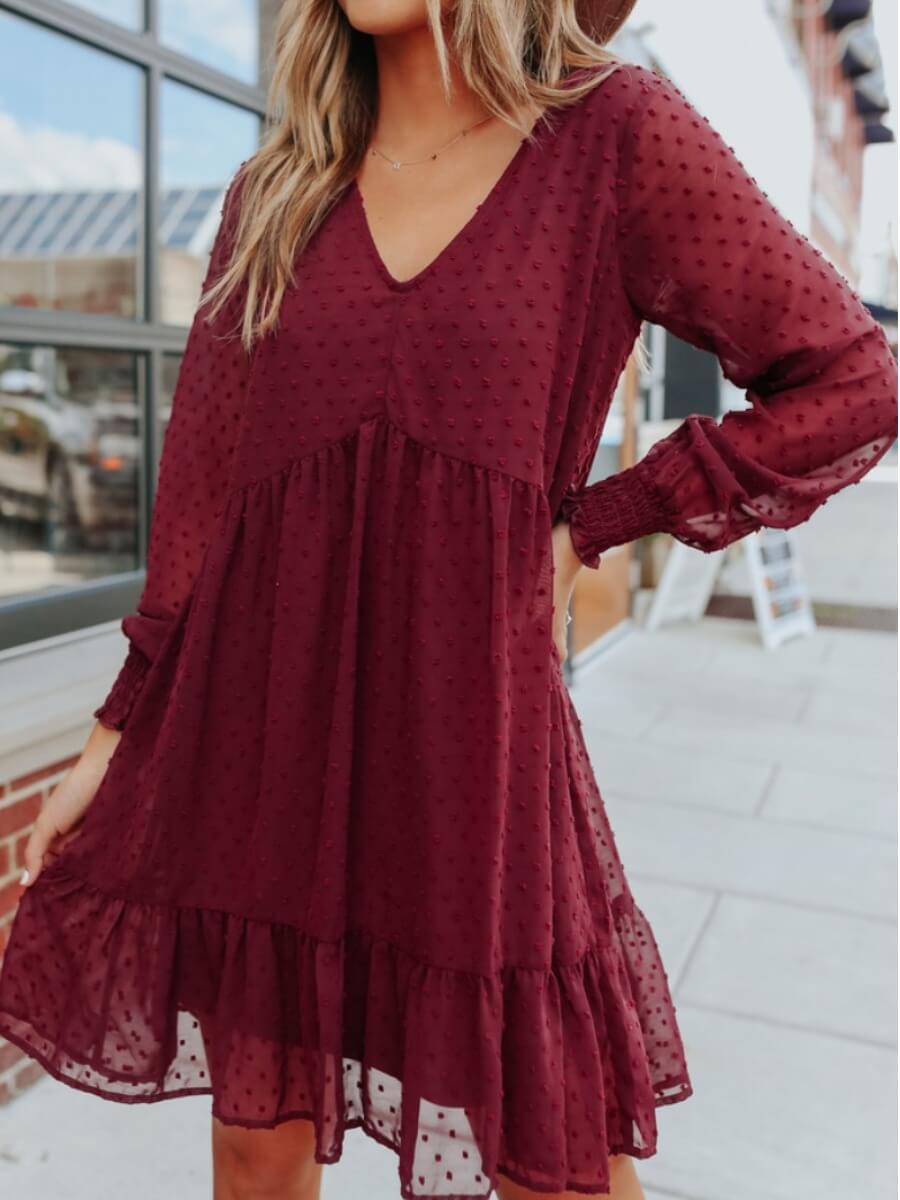 LW Lovely Casual V Neck Flounce Design Wine Red Knee Length Dress